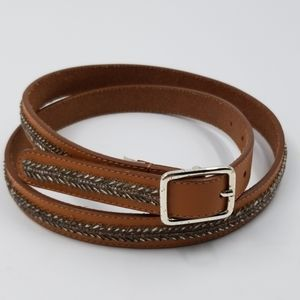 Loft Brown Leather Beaded Embellishment Belt